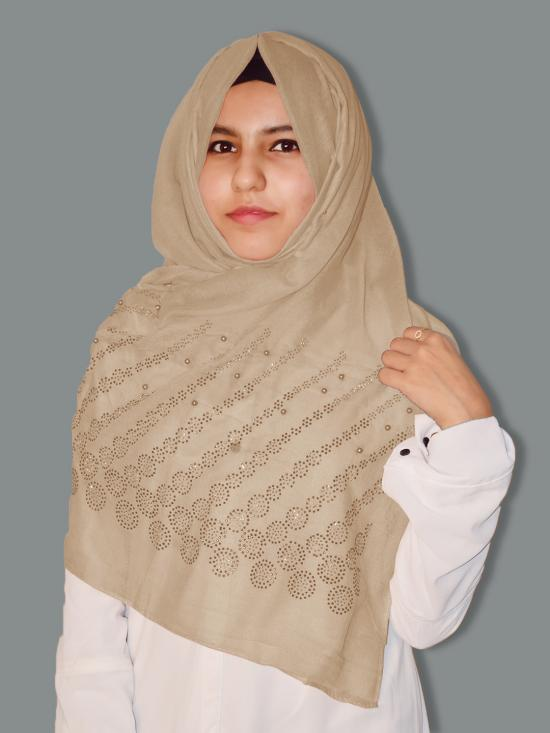 Cotton Mix Stole With Drip Drop Stone Work And Pearl In Beige