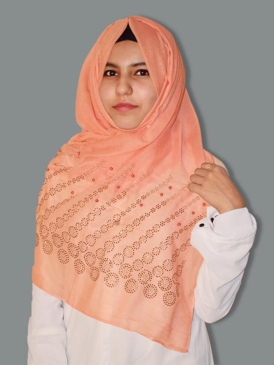 Cotton Mix Stole With Drip Drop Stone Work And Pearl In Light Orange