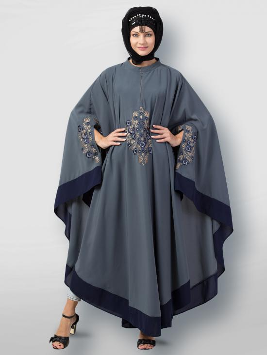 Matte Nida Irani Kaftan Center Embroidered With Contrast Band In Grey And Navy