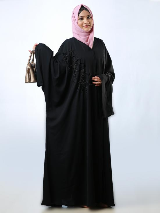 Nida Matte Farasha With Front Open And Floral Work In Black