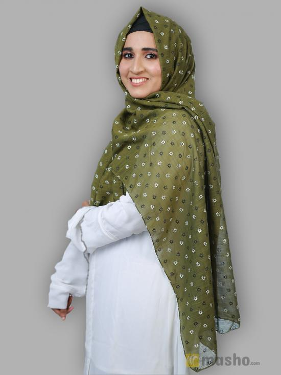 Cotton Mix Stole With Printed Work In Light Olive