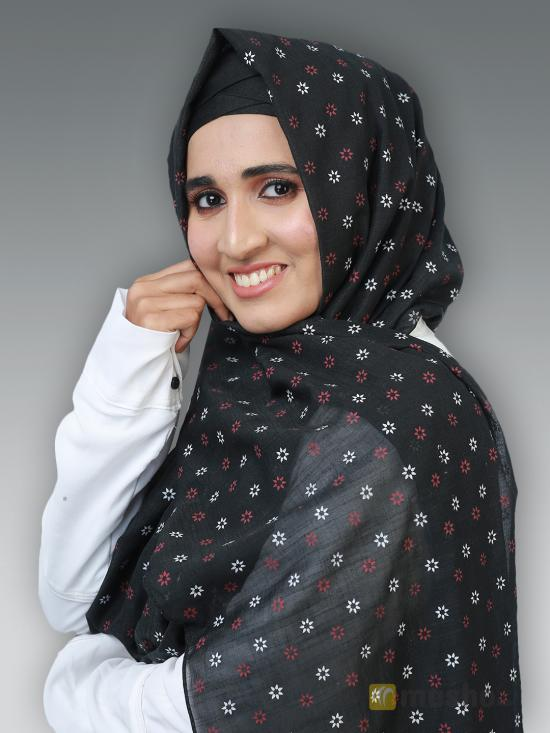 Cotton Mix Stole With Printed Work In Black