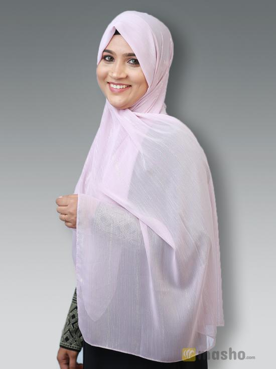 Georgette Stole With Slitted Polyester Thread Work in Light Pink