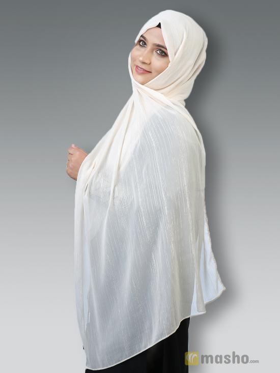 Georgette Stole With Slitted Polyester Thread Work in Light Cream