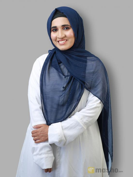 Georgette Stole With Slitted Polyester Thread Work In Navy Blue