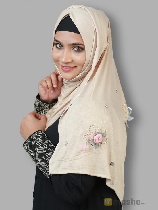 Soft Cotton Stole With Floral And Stone Work In Light Beige