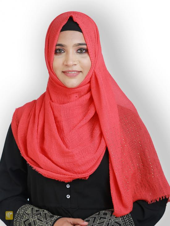 Cotton Mix Plain Stole With Golden Stone Work In Red