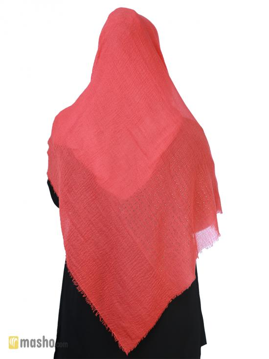 Cotton Mix Plain Stole With Golden Stone Work In Peach