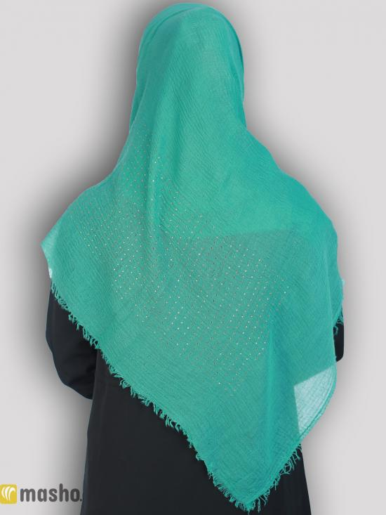 Cotton Mix Plain Stole With Golden Stone Work In Green