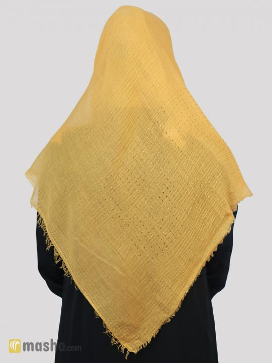 Cotton Mix Plain Stole With Golden Stone Work In Yellow