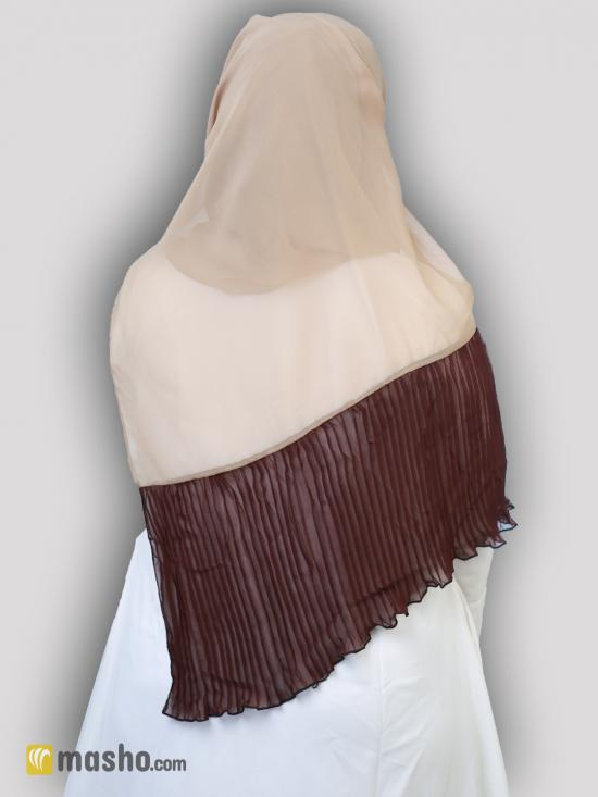 100% Polyster Stole With Two Side Frill In Beige And Coffee