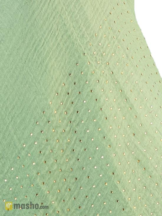 Cotton Mix Plain Stole With Golden Stone Work In Pista