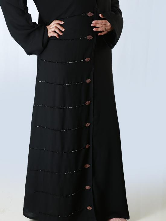 Korean Masha Crepe Front Open Free Size Abaya With Hand  Work Embroidered And Fullsleeves In Black