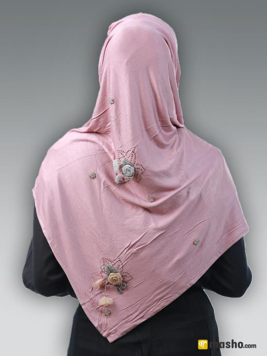 Soft Cotton Stole With Floral And Stone Work In Careys Pink