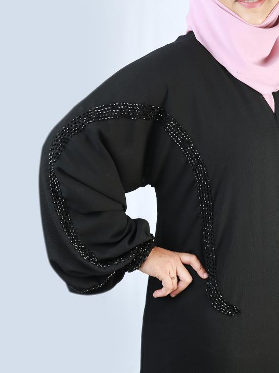 Korean Masha Crepe Simple Free Size Abaya With Crystal Hand Work And Elastic Sleeves In Black