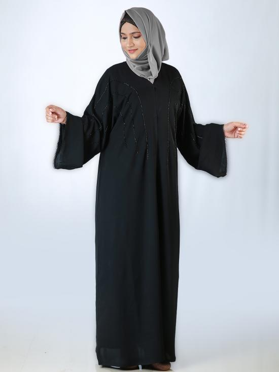 Nida Matte Front Open Free Size Abaya With Hand Work Embroidered In Black