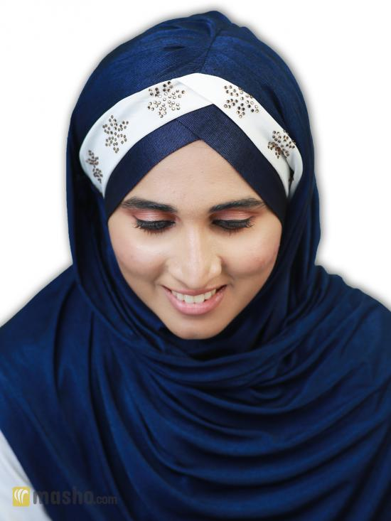Turban Soft Knitted Lycra Instant Hijab With Stone Work On Band In Navy Blue And White