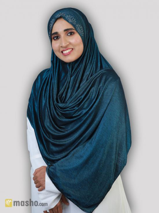 Turban Soft Knitted Lycra Instant Hijab With Stone Work On Band In Peacock
