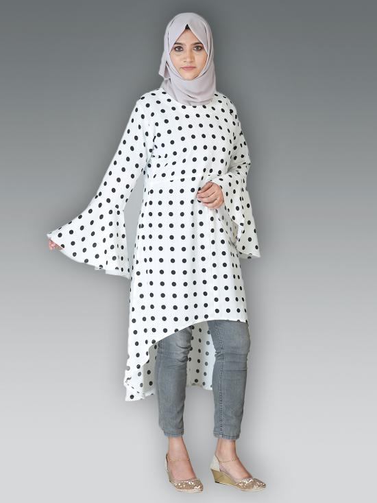 Cotton Mix Polka Dot Kurti With Bell Sleeves In Off White