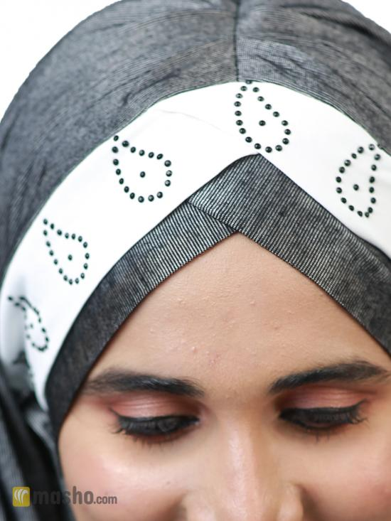Turban Soft Knitted Lycra Instant Hijab With Stone Work On Band In Silver And White