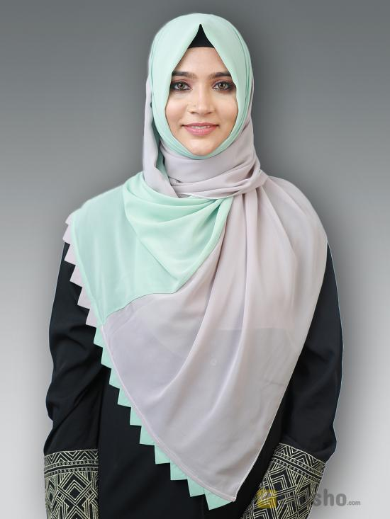 100% Polyster Double Shade Plain Stole In Ash And Pista