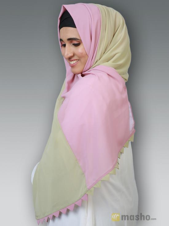 100% Polyster Double Shade Plain Stole In Light Khaki And Puce Pink