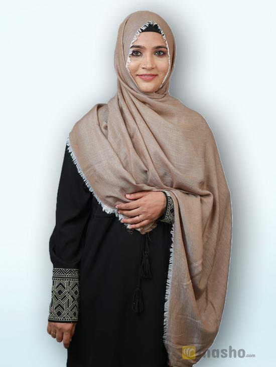 Soft Poly Mix Plain Stole In Light Brown