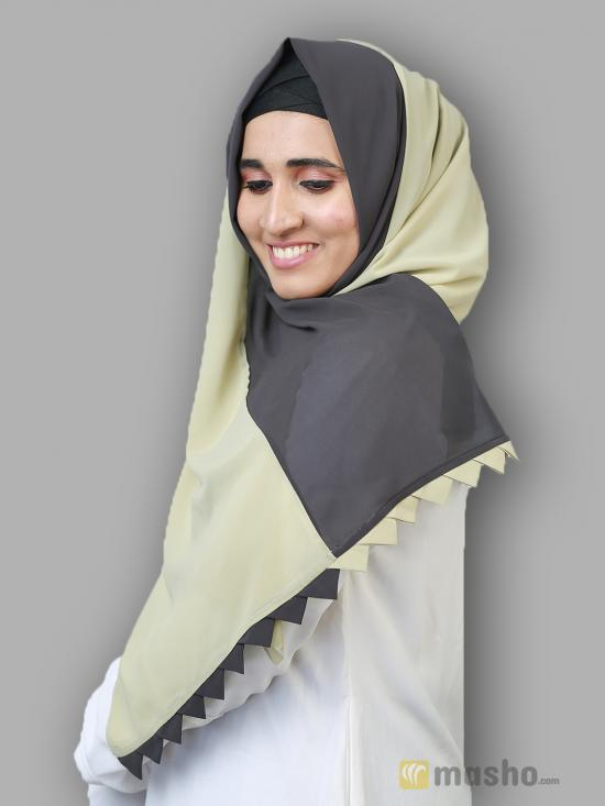 100% Polyster Double Shade Plain Stole In Light Khaki And Grey