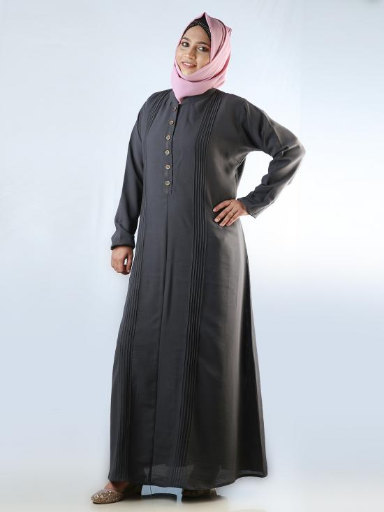 Korean Masha Crepe Simple Free Size Abaya With Button On Front In Grey