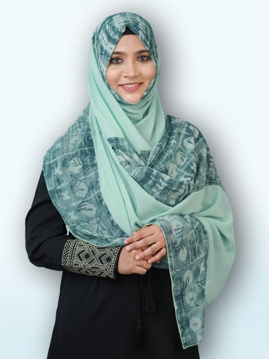100 % Polyster Double Shade Stole In Multi And Mint