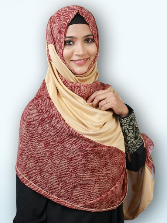 100% Polyster Lycra Double Shade Stole In Multi And Beige