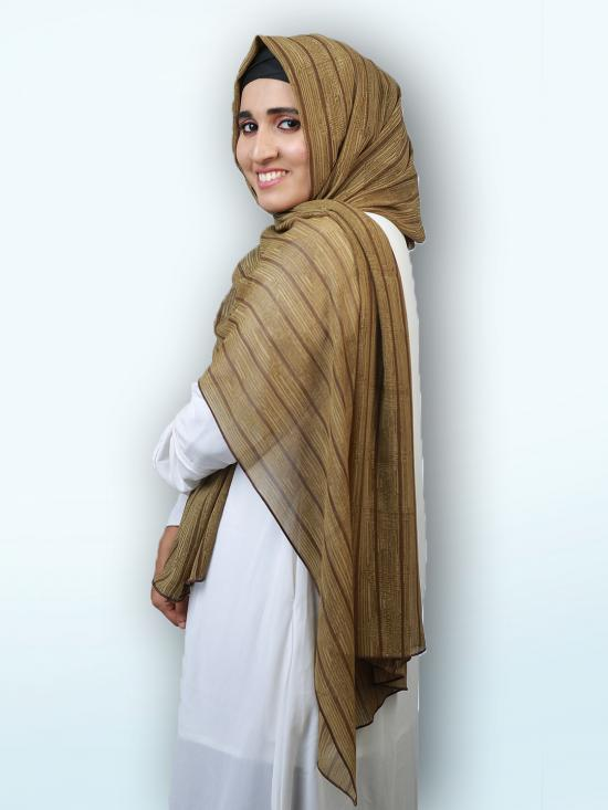 100 % Polyster Stole In Khaki And  Brown