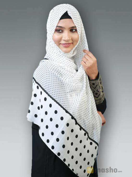 100 % Polyster Stole With Polka Dots And Lace Work In White And Black
