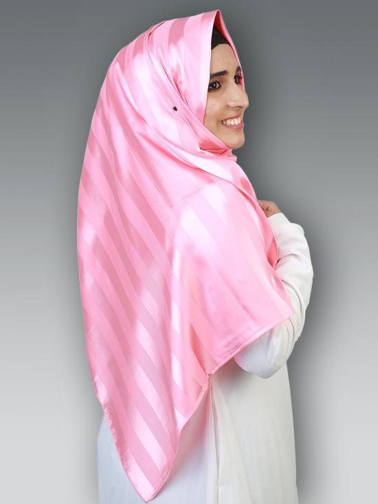 Satin Silk Plain Stole In Pink