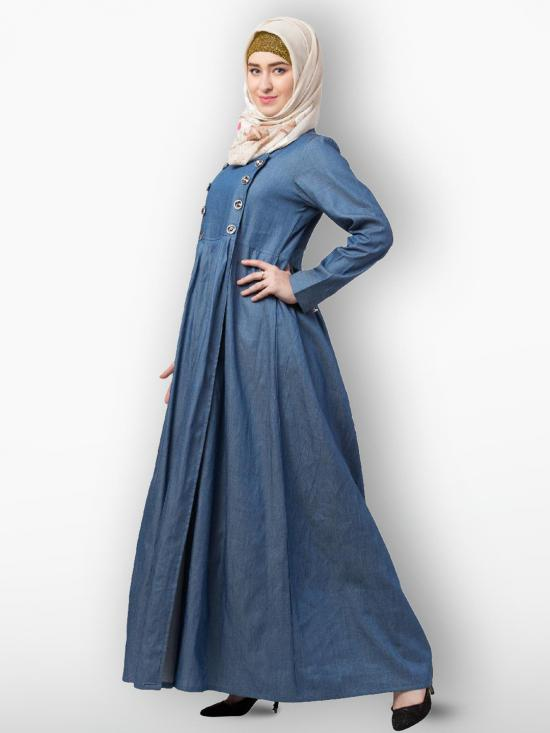 Premium Denim Abaya With Fancy Buttons On Front In Denim Blue