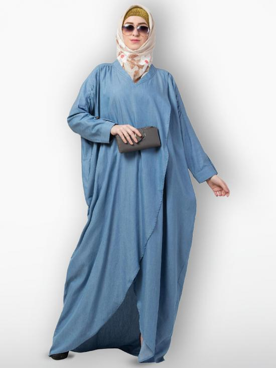 Premium Denim Loose Abaya With Full Sleeves In Denim Blue