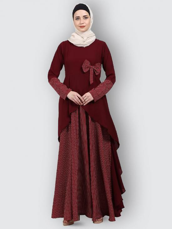 Nida Matte And Crepe Modest Dress With Polka Dotted In Maroon
