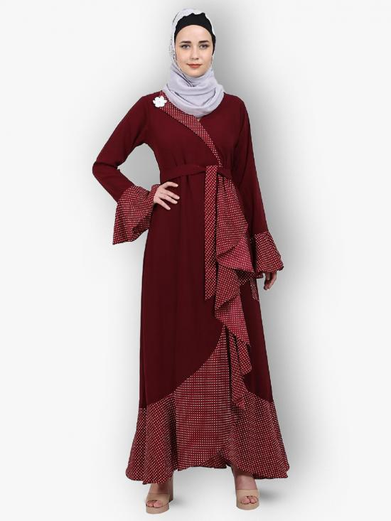 Nida Matte And Crepe Modest Dress With Polka Dotted Frills In Maroon