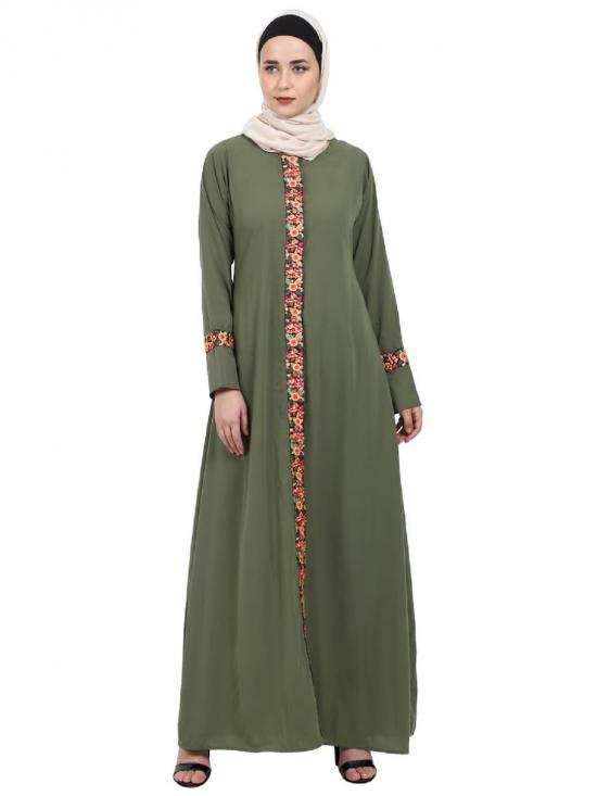 Nida Matte Elegant Front Open Abaya With Embroidery Work In Jade Green
