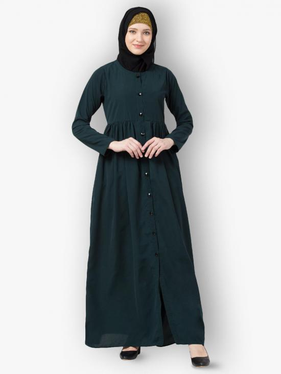 Nida Matt Front Open Abaya With Pintucks In Green