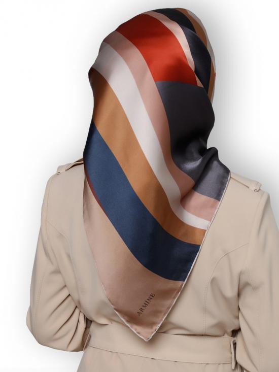 Crepe Silk Printed Square Scarf In Multi Color