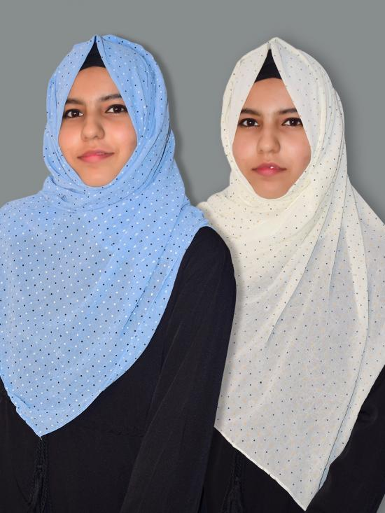 Set Of Two Georgette Stole With Dot Print In Sky Blue And Cream