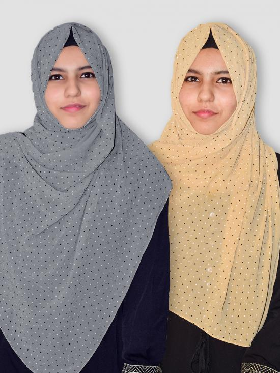 Set Of Two Georgette Stole With Dot Print In Grey And Beige