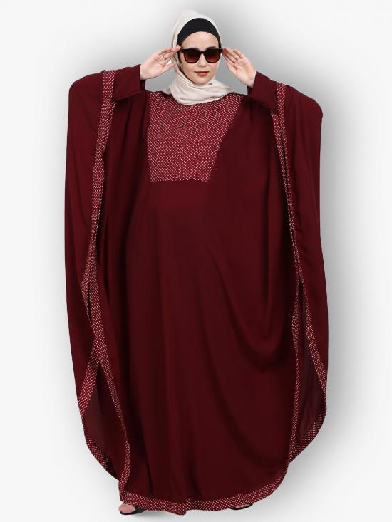 Nida Matte Indo Classic Kaftan With Dotted Design On Front And Border In Maroon