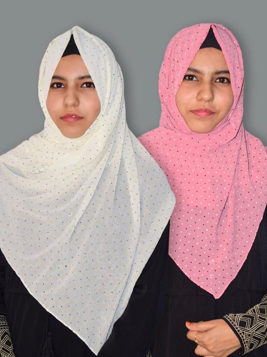 Set Of Two Georgette Stole With Dot Print In Cream And Baby Pink