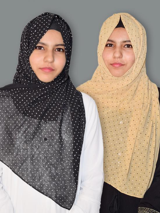 Set Of Two Georgette Stole With Dot Print In Black And Beige