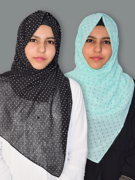 Set Of Two Georgette Stole With Dot Print In Black And Mint