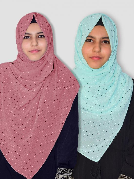 Set Of Two Georgette Stole With Dot Print In Puce Pink And Mint