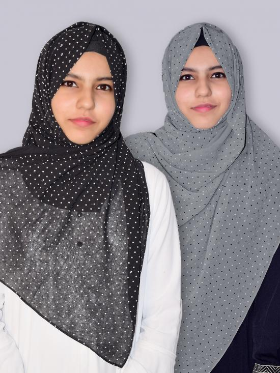 Set Of Two Georgette Stole With Dot Print In Black And Dark Grey