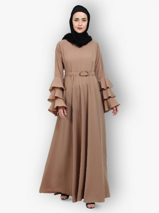 Nida Matte Abaya With Umbrella Flare And Bell Sleeves In Khaki